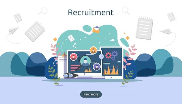Job-einstellung und on-line-rekrutierungskonzept mit kleinem leutecharakter. wählen sie einen wiederaufnahmeprozess aus.
