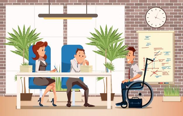 Job interview mit behindertem mann-vektor-konzept