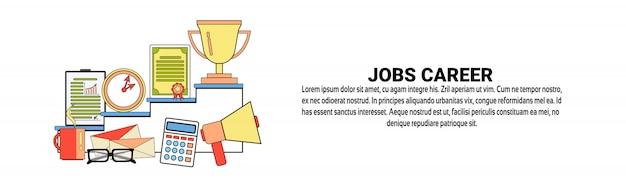Job-karriere-wachstum-persönliches entwicklungs-konzept-horizontale fahnenschablone