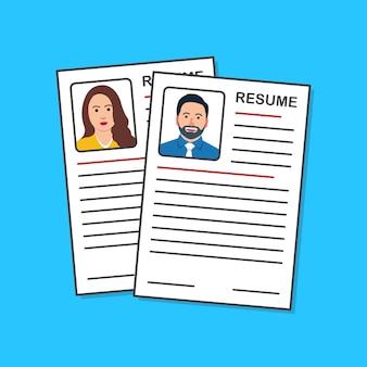 Job setzt illustration fort. bewerbung für den lebenslauf Premium Vektoren
