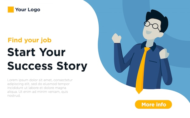 Job vakanz landing page illustration hintergrund