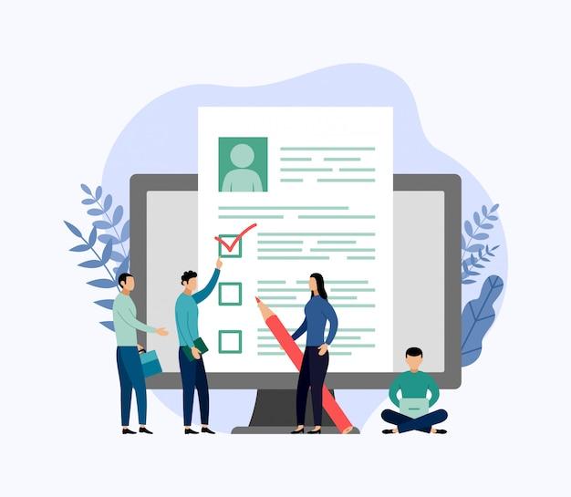Jobeinstellung und on-line-einstellung, checkliste, fragebogen, geschäftsillustration