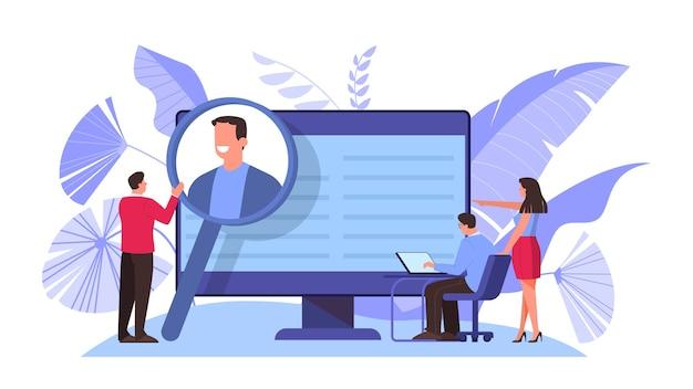 Jobkandidatenkonzept. idee einer anstellung und eines vorstellungsgesprächs. rekrutierungsmanager suchen. illustration im cartoon-stil
