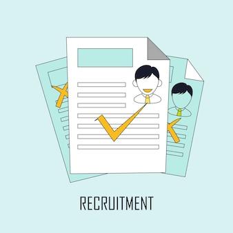 Jobsuche konzept: rekrutierung im linienstil