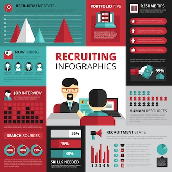 Jobsuchstrategie für beschäftigung und erfolgreiche karriere mit einstellungsstatistiken und zusammenfassungsspitzen infographics design-vektorillustration