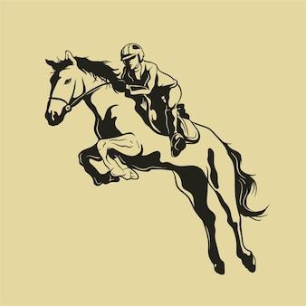 Jockey auf springendem pferd