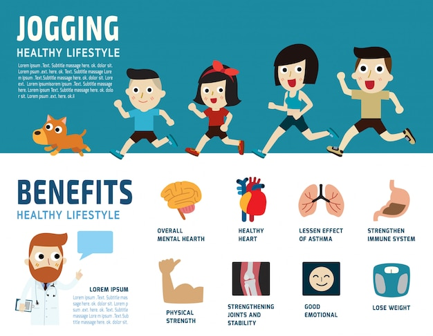 Joggen gesundheitswesen konzept illustration.
