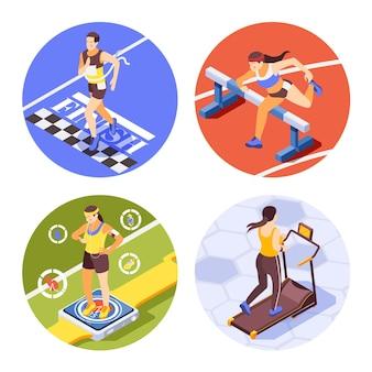 Joggen lauftraining sprinten um isometrische kompositionen mit hürdenrennen im fitnessbereich