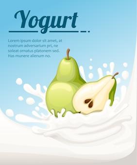 Joghurt mit birnengeschmack. milchspritzer und birnenfrucht. joghurt-anzeigen in. illustration auf hellblauem hintergrund. platz für ihren text.