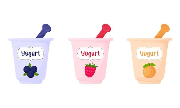 Joghurts in einer tasse mit einem löffel. blaubeere, himbeere, pfirsich, joghurt, milchprodukt, gesunde ernährung.