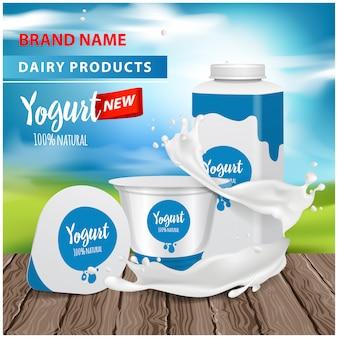Joghurtwerbung, quadratische plastikflasche und runder topf mit joghurtspritzer, illustration für web oder magazin. vektor