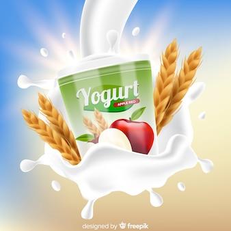 Jogurtmarke auf abstraktem hintergrund