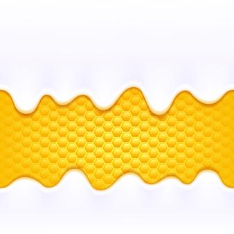 Jogurtmilchcreme tropft das fließen auf bunten gelben honigkammhintergrund