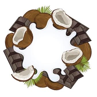 Jogurtspritzen lokalisiert auf schokolade und kokosnuss
