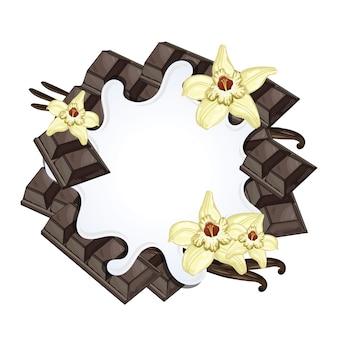 Jogurtspritzen lokalisiert auf schokolade und vanille