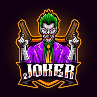 Joker-pistolenmaskottchen für sport- und esport-logo-vektorillustration