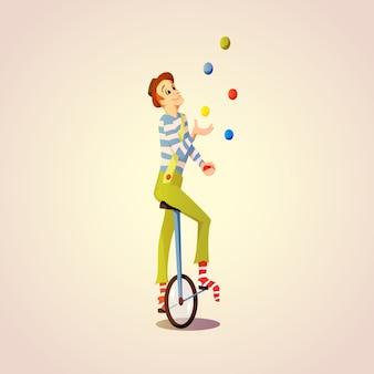 Jonglierende bälle des karikatur-zirkusjongleurs auf einem einrad