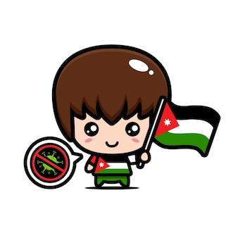 Jordan junge mit flagge gegen virus