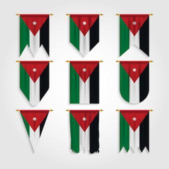 Jordanien-flagge in verschiedenen formen, flagge von jordanien in verschiedenen formen