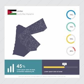 Jordanien karte & fahne infografiken vorlage