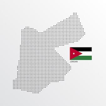 Jordanien-kartenentwurf mit flaggen- und hellem hintergrundvektor