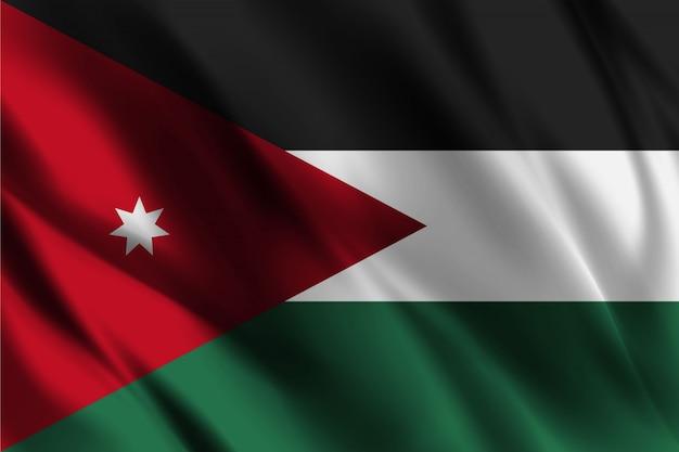 Jordanische flagge, die abstrakten hintergrund winkt