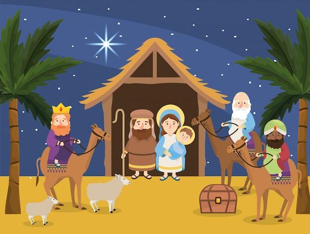 Joseph mit maria und jesus in der krippe und zauberkönigen