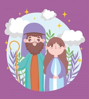 Joseph und mary krippe frohe weihnachten