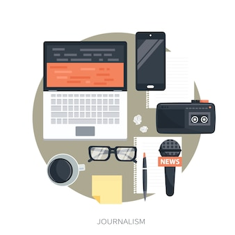 Journalismuselemente isoliert auf weiß