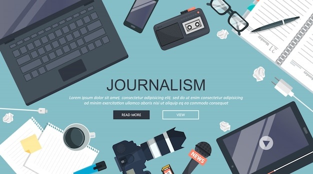 Journalismuskonzept, arbeitsschreibtisch