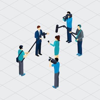 Journalist-berufs-teamwork-isometrisches banner