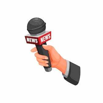 Journalisteninterview. hand, die mikrofon mit nachrichtensymbolkonzept in karikaturillustration auf weißem hintergrund hält