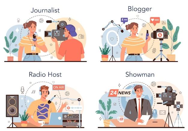 Journalistenkonzept eingestellt. zeitungs-, internet- und radiojournalismus. tv-reporter, video-blogger, radiomoderator, redner. beruf der massenmedien. vektorillustration im cartoon-stil