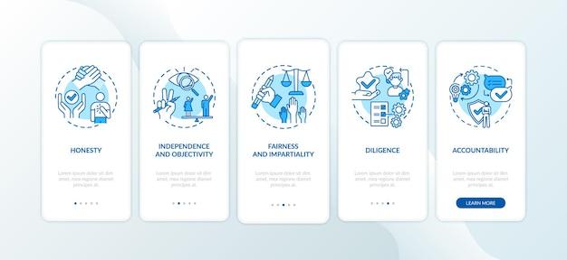 Journalistische ethikregeln für die integration des bildschirms der mobilen app-seite mit konzepten