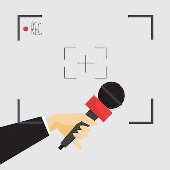 Journalistisches konzept. hand hält mikrofon. reporter nehmen interview