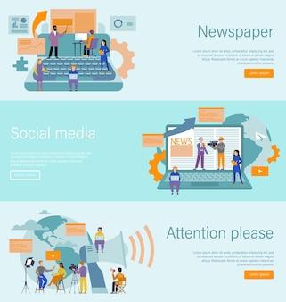Journalistisches konzept. massenmedien und werbetexter, internet- und radiojournalismus, online-nachrichtenblog-landingpage, zeitungs- und tv-digital-webbanner-vorlage, flache vektorgrafik