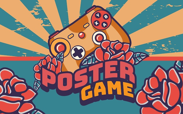 Joystick gamepad poster retro vintage illustration