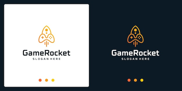Joystick-logo-inspiration und raketenlogo. premium-vektoren.
