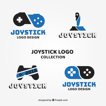 Joystick-logo-sammlung mit flachem design