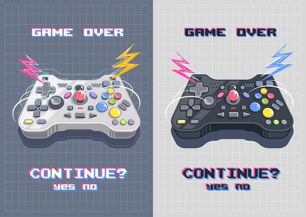 Joystick mit vielen knöpfen, gamepad-kunstillustration. modernes plakat für druck und web.