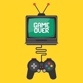 Joystick-steuerung in einem videospiel auf einem alten fernseher. inschriftenspiel auf dem bildschirm vorbei. flache vektor-illustration
