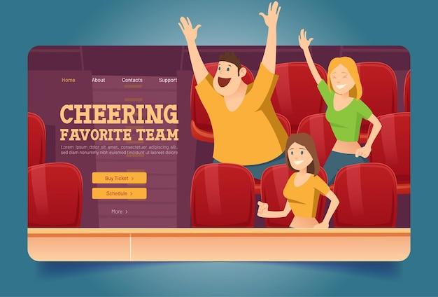 Jubeln sie die website der lieblingsmannschaft mit leuten im stadion an