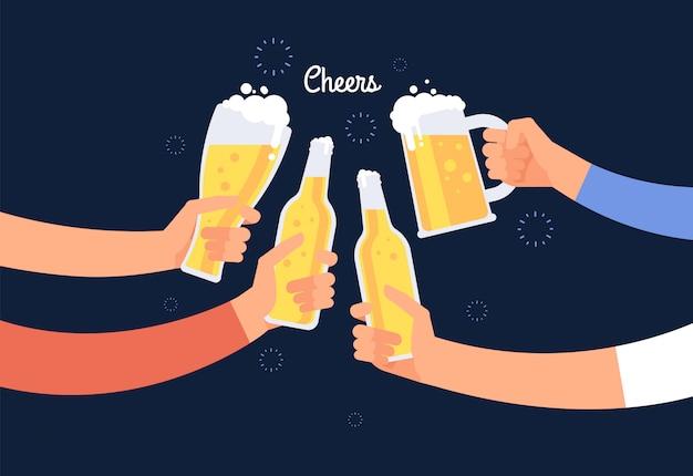 Jubelnde hände. klirrende bierflasche und -gläser der frohen naturen. glücklicher trinkender feiertagsvektorhintergrund