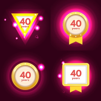 Jubiläum 40 icons set