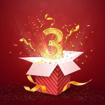 Jubiläum des dritten jahres und offene geschenkbox mit explosionen konfetti isoliertes designelement