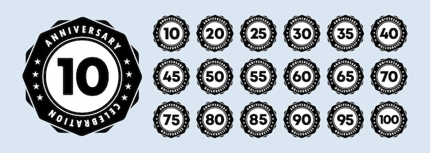 Jubiläum-icon-set. jubiläumssymbole im reich verzierten rahmen. 10,20,30,40,50 und 100 jahre. vorlage für karten und glückwunschdesign. vektor-eps 10. auf hintergrund isoliert.