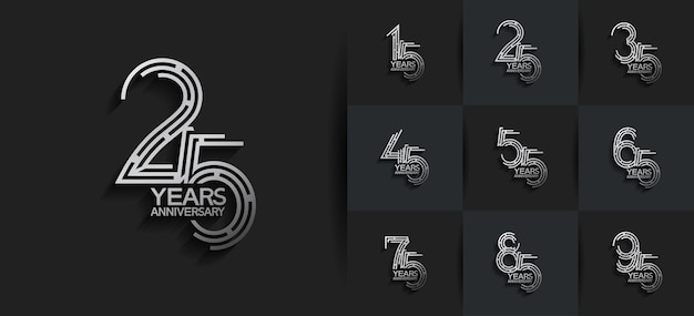 Jubiläums-set-logo-stil mit silberner farbe