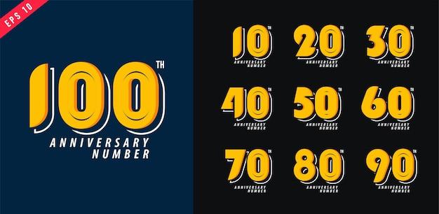 Jubiläums- und datumslogosatz moderner zahlensymbolentwurf für poster 10-100 vektorillustration