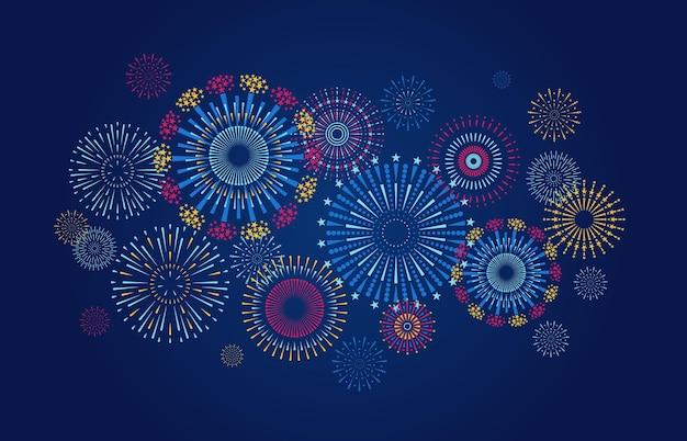 Jubiläums- und weihnachtsfeierbanner mit buntem starburst und konfetti