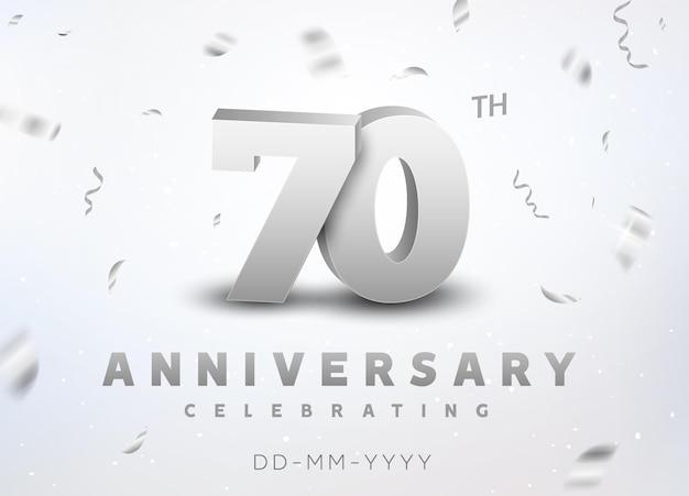 Jubiläumsfeier zum 70-jährigen jubiläum der silbernen zahl. jubiläumsbanner-zeremonie-design für das alter von 70 jahren.